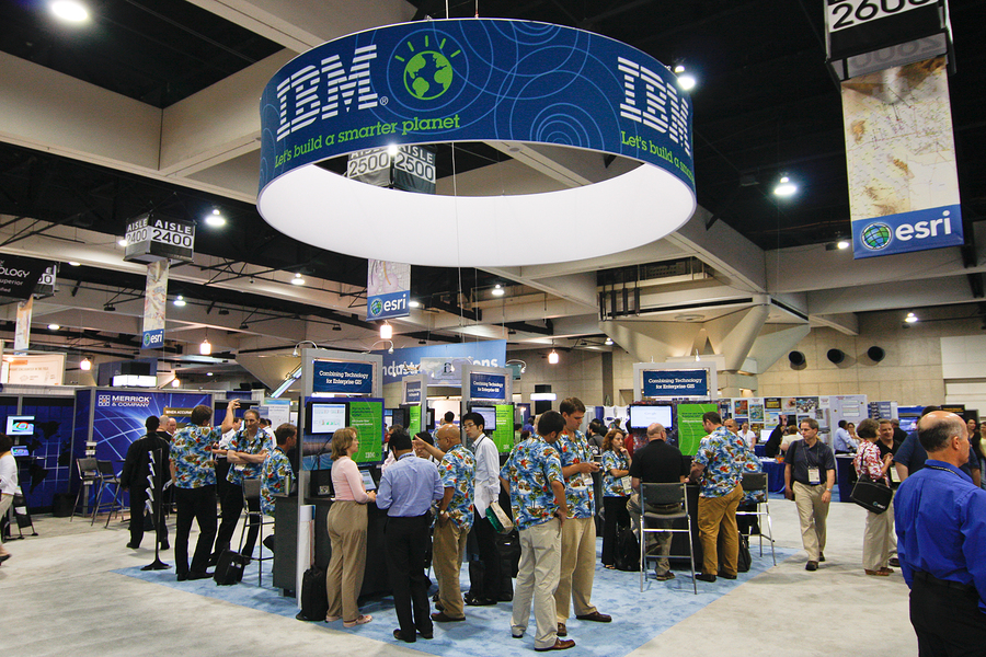 tradeshow marketing -SAN DIEGO - JULY 14: IBM booth on the trade floor of the ESRI (Environmental Systems Research Institute) user conference. July 14 2010 in San Diego California